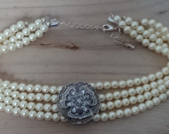 Vintage four strand pearl choker with rhinestone decoration