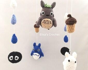 Totoro Crochet Nursery Mobile / Crib Mobile / Nursery Decor / Toys Accessories