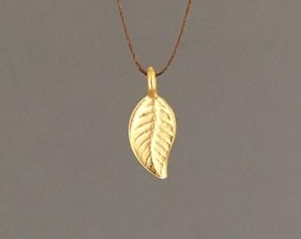 Gold or Silver Leaf Wish String NECKLACE or BRACELET