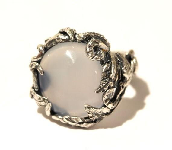 Natural Chalcedony Ring -  Sterling Silver -  Handmade - Custom Gemstone Jewelry #1438 Watch Video!