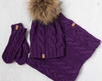 Kid's Knit Hat, Mittens and Snood Set / Children's Hat, Mittens and Snood / Wool Merino Hat, Mittens and Snood