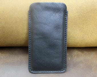 Leather iPhone 6 case, Leather iPhone 6 sleeve, iPhone leather sleeve, iPhone 7 leather case, full grain soft black leather