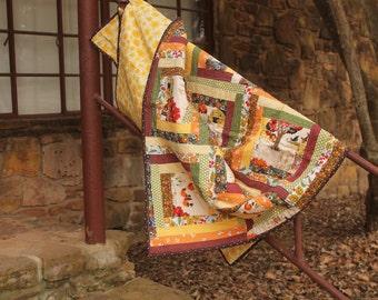 Autumn Log Cabin Lap Quilt featuring Moda Farmyard