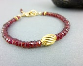 Garnet Chakra Bracelet - 14K Gold Fill -  Red Gemstone Bracelet - January Birthstone - Healing Crystals - Beaded Energy Bracelet