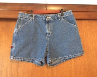 Vintage Women's Tommy Hilfiger Carpenter Denim Jean Shorts 14 Medium Wash 2002