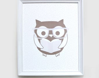 Owl 2-Coloured Letterpress Print (8 x 10)