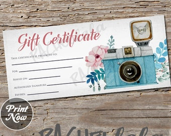 Floral Camera, printable Gift Certificate template, spring, direct sales, photography session, gift card, instant digital download