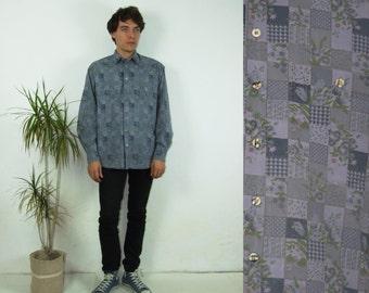 80's vintage men's purple checked botanic printed shirt