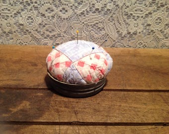 Zinc Canning Jar Lid With Quilted Pin Cushion