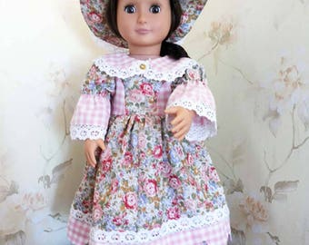 Historical Dress, petticoat,  hat, 18 Inch Doll Clothes