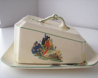 English Cheese Dish and Cover Homeleigh Ware Cottage Pattern