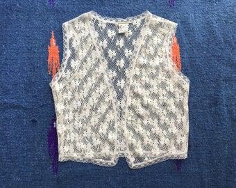 Vintage 1970's Lace Vest with Clover Print