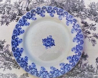 Boulenger et Cie CHOISY Le Roi Antique French Transfer Printed Plate 1800's Choisy Blue and White Aged Cream Terre de Fer Earthenware