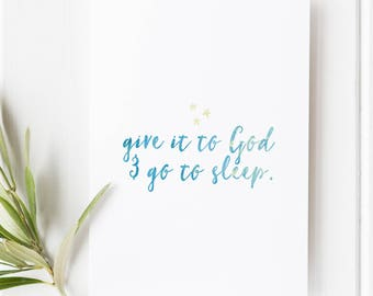 Proverbs 3:24 - Give it to God and go to sleep - Scripture art - Bible verse - Illustrated verse - Verse calligraphy - Verses for women