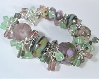 Lampwork bracelet, Lampwork beaded bracelet, Organic lampwork beads, Green and Purple Glass Lampwork bracelet. Handmade beaded bracelet.