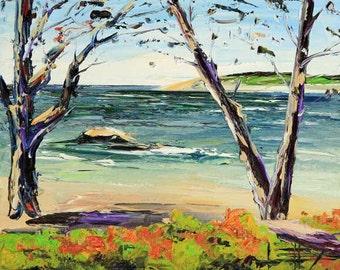 Carmel Art, Beach Decor, California Painting, Coastal Art, Pacific Hwy, Coastal, 8x10, Textured Oil, California Landscape, Palette Knife Art