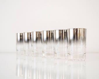 Dorothy Thorpe shot glasses, silver fade ombre design, mid century modern, vintage, set of 6