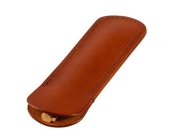Leather Single Pen Sleeve, Handmade, Cognac Bridle Leather, Fits 1 Pen