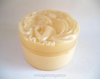 Charles Revson Ciara storage box, vintage vanity container for bathroom bedroom boudoir, elegant style decor, cameo lady design