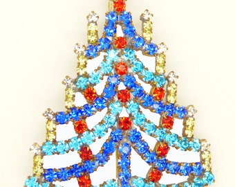 Czech Glass Blue Rhinestone Christmas Tree Brooch, Xmas Pin, Holiday Brooch. Unique vintage