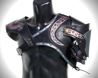 celtic Breastplate, viking breastplate, viking leather armor, larp leather armor, leather embossment armor