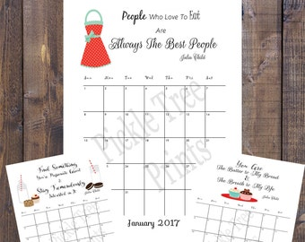 NEW NEW NEW 2017 Printable Calendar with Julia Child Quotes!  Reduced 75% off