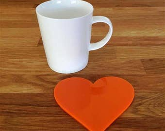 Heart Shaped Orange Gloss Finish Acrylic Coasters