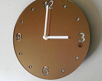 "Round Bronze Mirror & White Clock - White Acrylic Back, Bronze Mirror Finish Acrylic with White hands, Silent Sweep Movement Sizes 8"" or 12"""