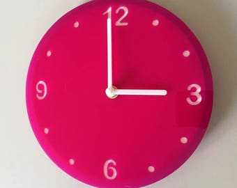 "Round Pink & White Clock - White Acrylic Back, Pink Finish Acrylic with White hands, Silent Sweep Movement.  Sizes 8"" or 12"""