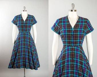 Vintage 1950s Dress   50s Plaid Tartan Cotton Shirtwaist Full Skirt Blue Black Day Dress (small)