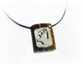 Deer antler necklace carved leather band, vintage