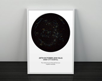 Star Map Personalised Ideal For Mothers Day A4