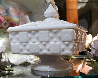 Westmoreland Milk Glass Candy Dish / Old Quilt / Mid Century Home Decor