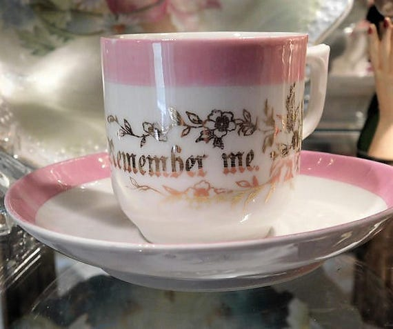 Remember Me Demitasse Cup Saucer Pink Lustre Lusterware Gold Gilt Flowers Made in Germany Porcelain Souvenir Art Deco Cottage Home Decor