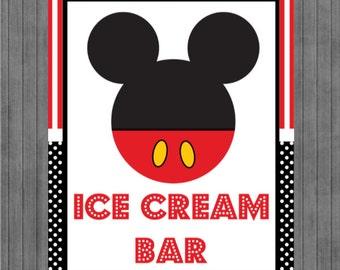ON SALE!!  Mouse Birthday Sign, Ice Cream Bar