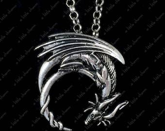 Antique Silver Dragon Pendant Necklace