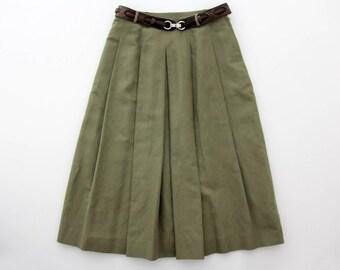 Vintage Skirt // Linen and Cotton Pleated Full Midi Skirt // Belted Pleat Skirt