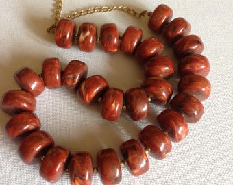 Necklace - large marbled terracotta plastic beads beaded necklace