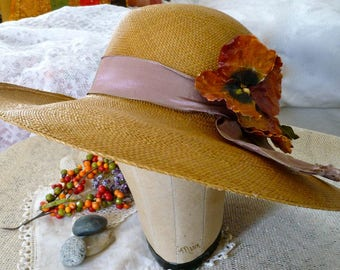 1930's Straw Wide Brimmed Fefora Hat with Violet Grosgrain Band and Large Peach Poppy With Bud Picture Hat Garden Hat Party Hat