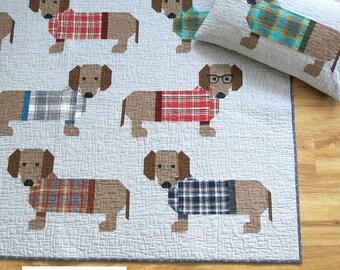 Dogs in Sweaters Quilt - Elizabeth Hartman, Oh Fransson, dog pattern, animal quilt, quilt pattern, lap quilt pattern, pillow, modern quilt,