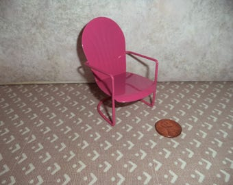 1:12 Dollhouse Fairy Garden, Porch or Lawn Chair (Pink)