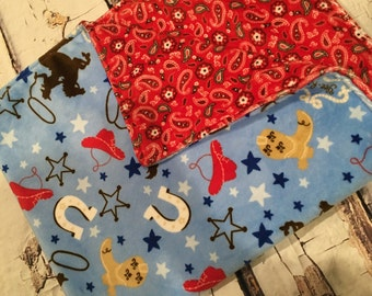 Western Cowboy Horse Minky Baby Blanket