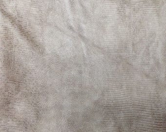 EMB29 Leather Cow Hide Cowhide Craft Fabric Pearl Gray Embossed Alligator 21 sq ft