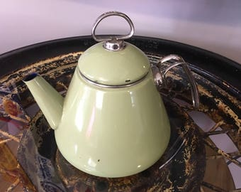 Vintage Mid Century Chantal Tea Kettle, Green enamel with Chrome Handle