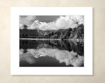 Lake Matheson Photograph with Mat, Black and White Matted Photograph, New Zealand Wall Art, Matted Print, Landscape, Wall Art, Wonderlust