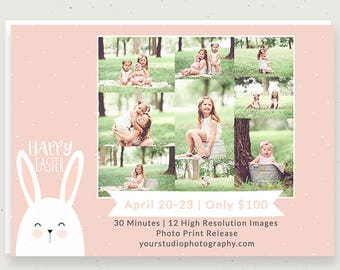 Photoshop Easter Template, Mini Session Template, Photography Template, Newsletter, Marketing Template, Digital File, PSD c145