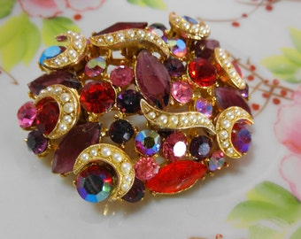 Vintage Red and Pink Brooch