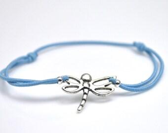 Dragonfly bracelet blue cord