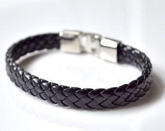 Black leather men bracelet
