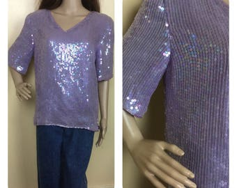 Vintage 80s Lilac sequin top , vintage sequin top, trophy top , Mardi  Gras , 1980s glam  top  new  with tags